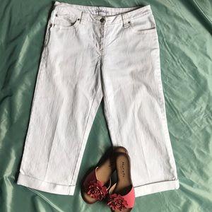 CAbi White Denim Stretch Capri Cropped Jeans Sz 8